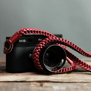 Barton1972 Leather Neck Strap Braided Style - Passion Red