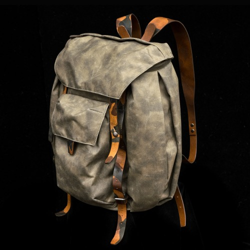 [WOTANCRAFT] REBEL BACKPACK - Ash_green (Camouflage leather)
